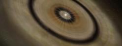 うみへび座TW星の周りに存在する塵の円盤の想像図。(クレジット:国立天文台)
